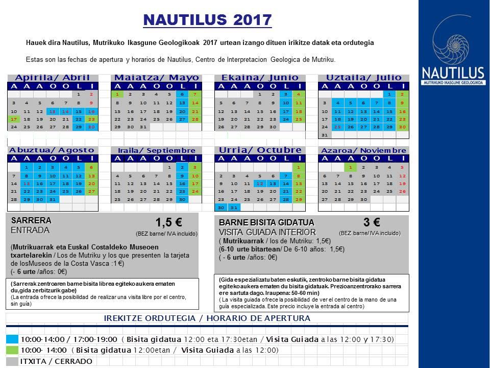 Nautilus ordutegiak - 2017